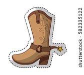 cowboy boot shoe icon | Shutterstock .eps vector #582335122