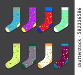 design colorful socks set... | Shutterstock .eps vector #582336586