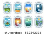 airplane window view vector... | Shutterstock .eps vector #582343336