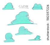 cloud illustration | Shutterstock . vector #582357226