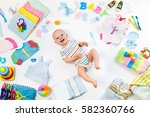 baby on white background with... | Shutterstock . vector #582360766