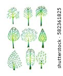abstract trees set    Shutterstock .eps vector #582361825