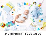 baby on white background with...   Shutterstock . vector #582363508