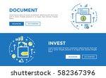 doodle web banners vector... | Shutterstock .eps vector #582367396