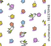 enjoy spring seamless vector... | Shutterstock .eps vector #582370948