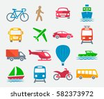 transport colorful icons | Shutterstock .eps vector #582373972