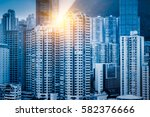 aerial view of hong kong... | Shutterstock . vector #582376666