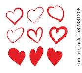 red brush stroke hearts set.... | Shutterstock .eps vector #582381208