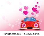 red car with heart vector... | Shutterstock .eps vector #582385546