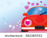 red car with heart vector... | Shutterstock .eps vector #582385552