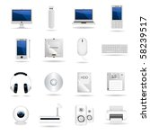 set of computers and hardware... | Shutterstock .eps vector #58239517