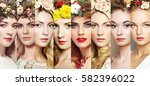 beauty collage. faces of women. ... | Shutterstock . vector #582396022