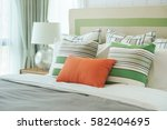 Orange Pillow With Green...
