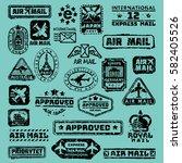 vector set of vintage postage... | Shutterstock .eps vector #582405526
