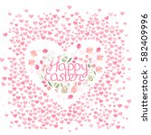 frame with pretty small hearts... | Shutterstock .eps vector #582409996