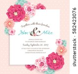 save the date design template... | Shutterstock .eps vector #582423076
