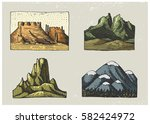 set of engraved vintage  hand... | Shutterstock .eps vector #582424972