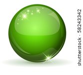 green glossy sphere isolated on ... | Shutterstock .eps vector #58243342