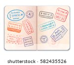 realistic open foreign passport ... | Shutterstock .eps vector #582435526