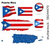 puerto rico vector set.... | Shutterstock .eps vector #58244470