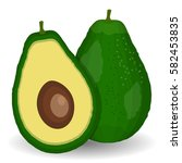 realistic avocados. whole and... | Shutterstock . vector #582453835