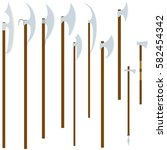 a set of ancient knives. the... | Shutterstock . vector #582454342