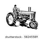 Farmer On Tractor   Retro Clip...