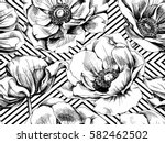 Stock vector seamless pattern with image anemones flowers on a geometric background vector black and white 582462502