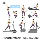 cardio workout exercises on... | Shutterstock .eps vector #582467002