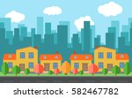 Vector City With Four Cartoon...