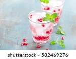 infused pomegranate water with...   Shutterstock . vector #582469276