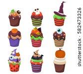 cupcake happy halloween scary... | Shutterstock .eps vector #582473326