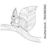 Stylized Squirrel Sitting On A...