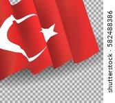 vector waving turkish flag on... | Shutterstock .eps vector #582488386