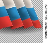 vector waving flag of russia on ... | Shutterstock .eps vector #582488392