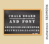 vector chalk board and chalk... | Shutterstock .eps vector #582490546