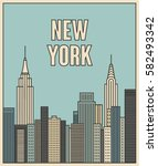 new york city  vector outline... | Shutterstock .eps vector #582493342