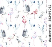 water color pattern with birds. ... | Shutterstock . vector #582495052