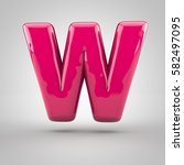 glossy pink paint letter w... | Shutterstock . vector #582497095