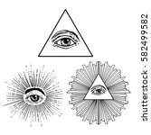 all seeing eye inside delta... | Shutterstock .eps vector #582499582