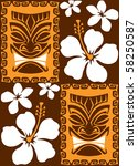 seamless tiki luau tiles | Shutterstock .eps vector #58250587