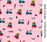 simple flat toys pattern with... | Shutterstock .eps vector #582517696