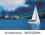 dark blue sky and sea view with ... | Shutterstock . vector #582523096
