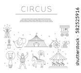 circus collection with carnival ... | Shutterstock .eps vector #582525916