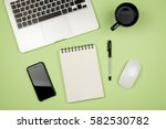 home office stuff with laptop ... | Shutterstock . vector #582530782