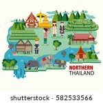 northern thailand travel with... | Shutterstock .eps vector #582533566