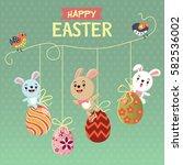 vintage easter egg poster... | Shutterstock .eps vector #582536002