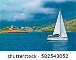 teal blue abstract seascape... | Shutterstock . vector #582543052