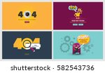 set of flat design 404 error... | Shutterstock .eps vector #582543736