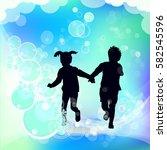 running children silhouette... | Shutterstock .eps vector #582545596